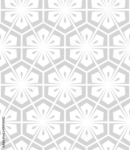 Flower geometric pattern. Seamless vector background. White and grey ornament. - 194745012
