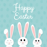 Happy Easter - card with cute bunny and wishes. Vector.