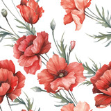 Delicate seamless pattern with poppies. Watercolor  illustration. - 194747833