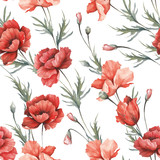 Delicate seamless pattern with poppies. Watercolor  illustration. - 194747845