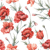 Delicate seamless pattern with poppies. Watercolor  illustration. - 194747852