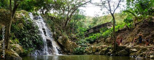 Fotobehang Bamboe Waterfall in the jungle near Minca, Colombia.