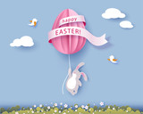 Happy Easter card with banny, flowers and egg air balloon on blue sky background. Vector illustration. Paper cut and craft style. - 194757892