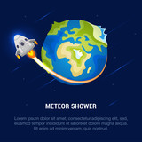 Vector Illustration of Meteor Shower.