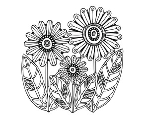 Hand drawn flowers. Sketch for anti-stress adult coloring book in zen-tangle style. Vector illustration for coloring page.