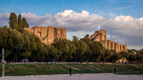 Tuinposter Rome Imperial forum archeological site. view of the ruins from Circo Massimo. Rome