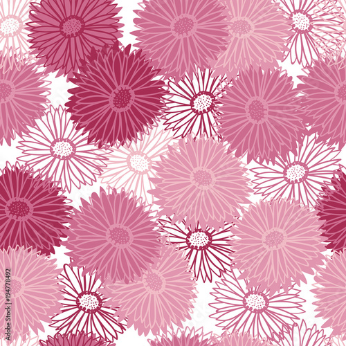 pink abstract aster flowers repeating pattern - 194778492