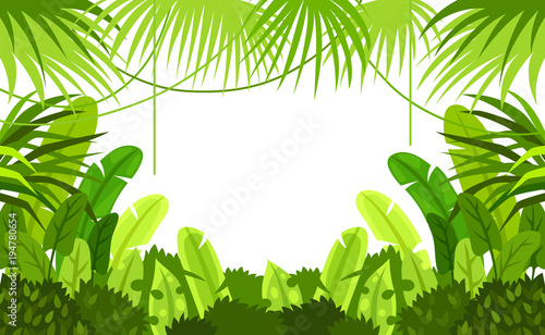 Foto op Canvas Lime groen tropical forest. frame. child. design. vector background. illustration