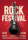 vector illustration red rock festival concert party flyer or posterdesign template with guitar, place for text and cool effects in the background - 194780899