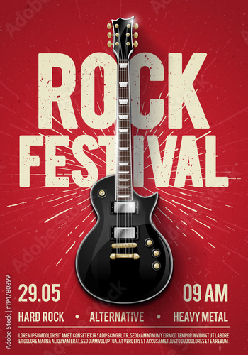 vector illustration red rock festival concert party flyer or posterdesign template with guitar, place for text and cool effects in the background
