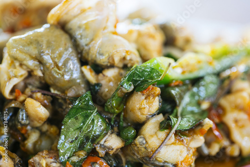 Aluminium Kikker Stir-fried frog and basil it spicy food