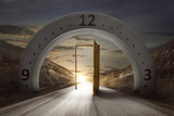 Gateway arch with clock face and open door - 194786636