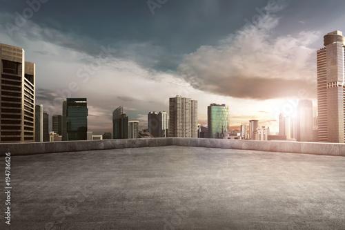 Fototapeta Rooftop balcony with cityscape