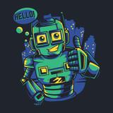 Hello Robot Wall Sticker