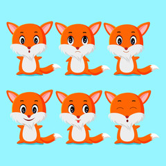 some cute fox expression vector illustrations