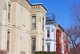 Historic townhouses of Shaw neighborhood in Washington DC. Beautiful residential townhouses on a sunny afternoon in US capital. - 194791827