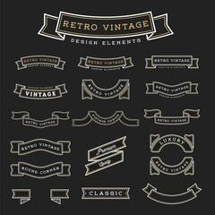 Set of Retro Vintage Ribbon Design Elements