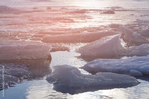 Deurstickers Lichtroze Ice crack on Jokulsarlon winter season lagoon, Iceland winter season natural landscape