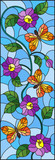 Illustration in stained glass style with abstract curly purple flower and an orange butterfly on blue background , vertical image