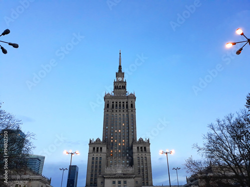 Warsaw, Poland - December 15, 2017: Palace of Culture and Science, a notable high-rise building in the early morning - 194802250