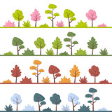 Landscapes with abstract trees and bushes in different colors