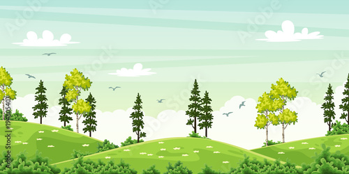 Sticker Summer landscape with trees