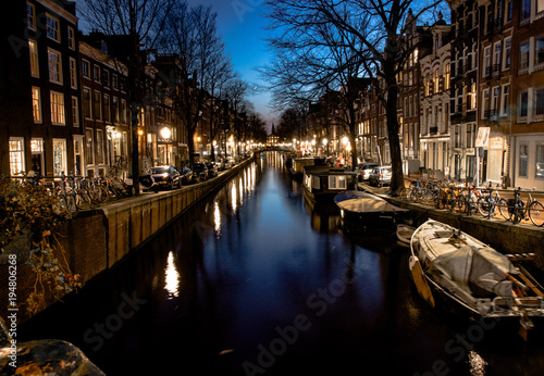 Foto op Canvas Amsterdam Night Amsterdam