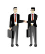 Asian businessmen in business suits handshaking. Corporate business people isolated vector illustration
