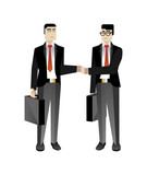 Asian businessmen in business suits handshaking. Corporate business people isolated vector illustration - 194807080