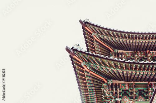 Papiers peints Seoul Roof top of the main gate to Gyeongbokgung Palace - Seoul, South Korea