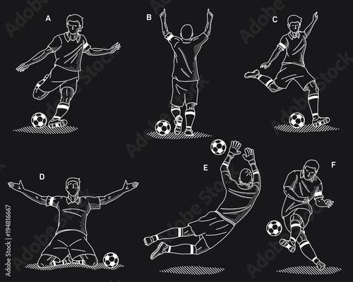 Fototapeta Soccer players white on a black background