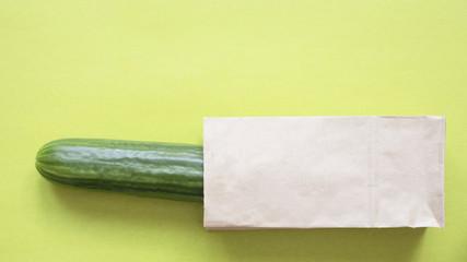 cucumber in a paper bag, copy space