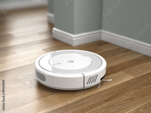 Robotic Vacuum Cleaner In Action On Wood Floor 3d Rendering Buy