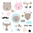 Set of cute animals, floral elements and slogans. Vector hand drawn illustration.