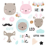 Set of cute animals, floral elements and slogans. Vector hand drawn illustration. - 194821614