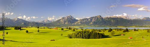 Aluminium Zomer panoramic landscape in region Allgaeu with lake and alps mountain range