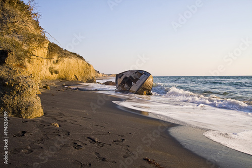 Foto op Aluminium Schipbreuk Old wreck of the ship or boat on the beach. Kos island in Greece