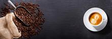 """Постер, картина, фотообои """"cup of coffee and coffee beans in a sack, top view"""""""