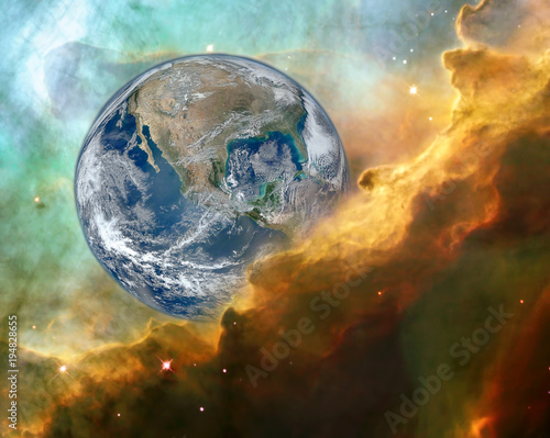 Tuinposter Heelal mystic view of Earth in danger concept. Elements of this image furnished by NASA
