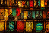 lighting with colors on muslim style's lantern - 194828834