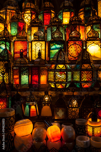 lighting with colors on muslim style's lantern - 194828813