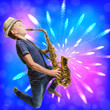 Leinwanddruck Bild - Teen playing saxophone