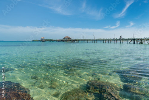 Fotobehang Thailand Wooden pier with tropical hut at resort in Phuket, Thailand. Summer, Travel, Vacation and Holiday concept.