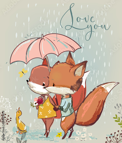 cute fox with duck