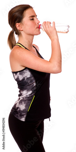 Aluminium Fitness Junge Sportlerin trinkt Wasser