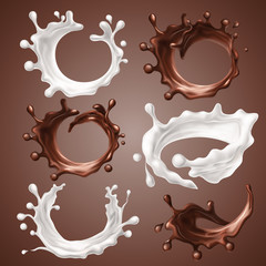 Set of realistic splashes and drops of milk and melted chocolate. Dynamic circle splashes of whirl liquid chocolate, milk products, coffee, cocoa. Design elements for packaging. Vector 3d illustration