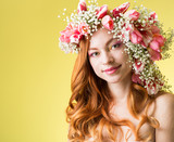 woman with wearing a wreath of tulips - 194839287