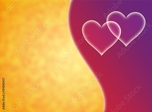 Plexiglas Abstractie White hearts on a yellow, orange and purple background. Love symbol. Two.
