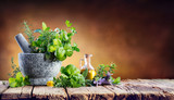 Aromatic Herbs With Mortar - Fresh Spices For Cooking - 194844284