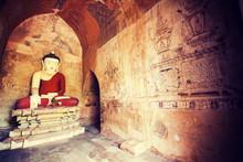"Постер, картина, фотообои ""Interior of the ancient temples in Bagan, Myanmar"""